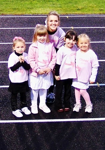 Julia and some girls from her biddy cheerleading group