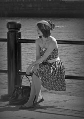 The Girl (Jazz Devil) Tags: people water girl nikon pretty sitting d70 posing sit railing seated quayside bestoftheday gnneniyis