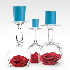 Quirky centerpieces (idoityourself) Tags: blue red roses glasses aqua centerpieces weddingdecorations tabledecorations