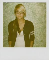 Blank Stare. (FelonyMelanie) Tags: white girl hair real polaroid glasses stripes navy sp blonde bangs 2009 cardigan thewall felonymelanie melaniebertelson maddiemayhem foroncehaha