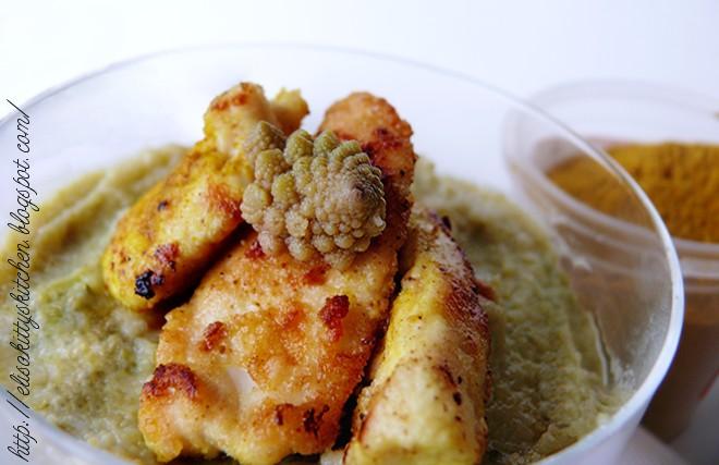 Pollo speziato su crema di cavolfiore allo zafferano