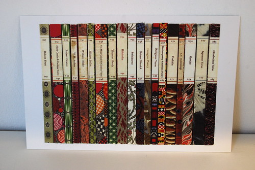 Spines of the Penguin Poetry series. 1963. Majority by Stephen Russ. Postcard in Postcards from Penguin.