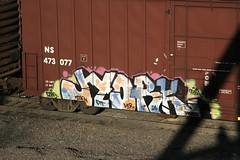 Jyork (Hear45) Tags: railroad minnesota train graffiti minneapolis mpls spraypaint twincities mn d30 freight aerosolart graffitiart 612 dtt mcr fr8 benching freightart jyork