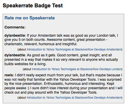 Speakerrate Badge Test by  you.