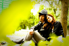 [Free Images] People, Couple, Cuddle Close Together, Taiwanese People, People - Park, Jacket, People - Two Persons ID:201110061400