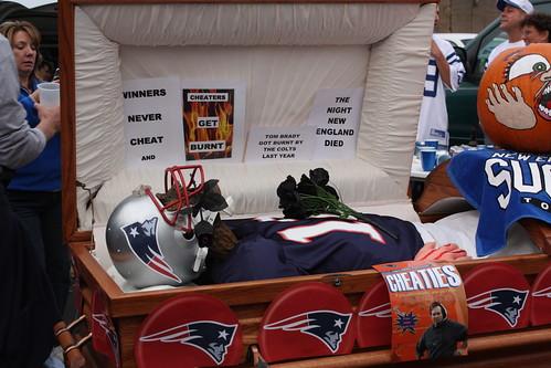 Tom Brady in a casket