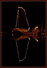 Christmas boat (Perkriz) Tags: light water sailboat dark denmark evening boat december harbour reflexions refelctions struer platinumheartaward perkriz marylynann