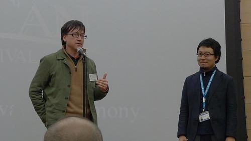 Jury member Chris Fujiwara gives a speech