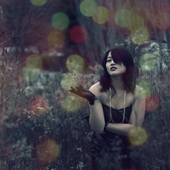 missing... (Shery Han) Tags: portrait woman girl dark person model bokeh gothic goth overlay gloves glam