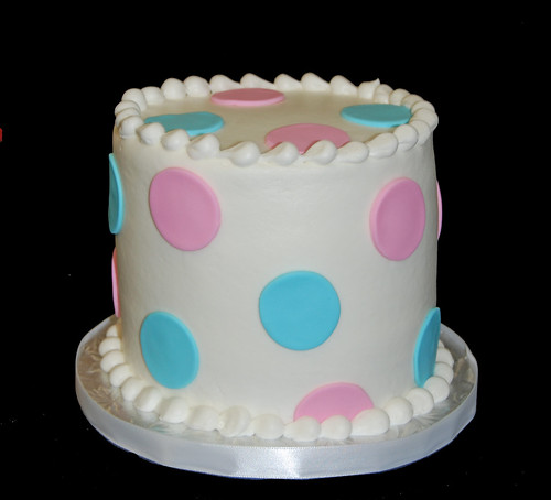 gender reveal cake - pink or blue