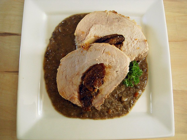 roasted lentil gravy with prune stuffed pork loin