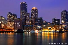 Boston Lights (James Neeley) Tags: nightphotography boston skyline cityscape massachusetts bluehour hdr 5xp jamesneeley fanpierplaza