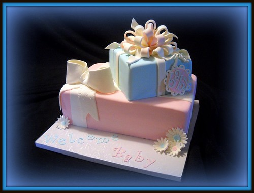 Pink & Blue Baby Shower Cake- sex unknown...