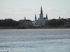 New Orleans: Jackson Square and cathedral from across the river (shermaniac) Tags: neworleansla mississippiriver louisiana churches