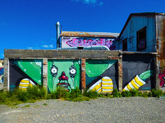 Somewhere to Park My Head (Steve Taylor (Photography)) Tags: yikes jacob alien garage stripes teeth streetart building green white yellow eerie brick iron newzealand nz southisland canterbury christchurch city cbd tag corrugated