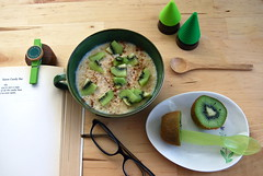mornings with kiwi (sevenworlds16) Tags: trees green fruit breakfast reading poetry fake plastic oatmeal richard kiwi brautigan daiso lovehim spife