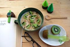 mornings with kiwi (sevenworlds16) Tags: trees green fruit breakfast reading poetry fake plastic oatmeal richard kiwi brautigan daiso lovehim spife