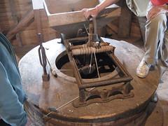 Hopper, shoe, millstone and bell