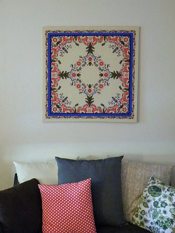 Framed Linen Dala Horse Tablecloth