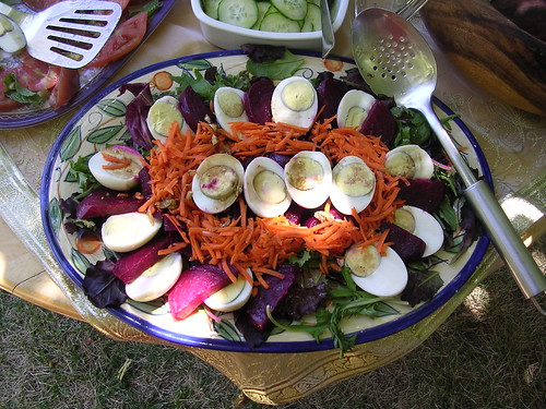 Beets, carrots & eggs on salad