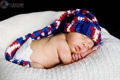 JR 2   webwm (KathrynRenePhotography) Tags: boy sleeping baby hat canon rebel twins infant naturallight newborn july4th conehat elfhat xti bornonthe4thofjuly boygirltwins