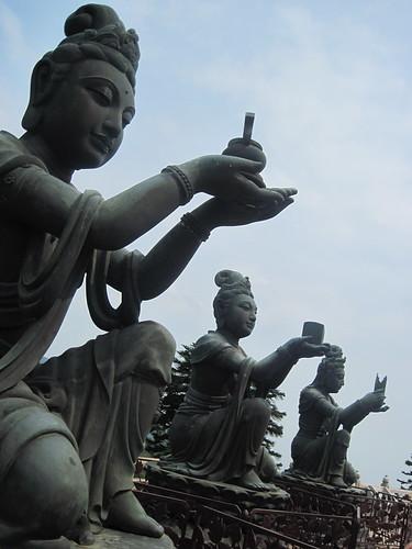 Statues of Bodhisattvas at the Tian Tan Buddha
