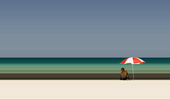 Finding shade (Maron) Tags: blue green beach umbrella colours stripes cuba shade guanabo ps3 supermarion bildekritikk marionnesje