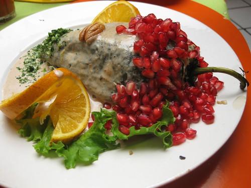 Chiles En Nogada. Vegetarian Chiles en Nogada