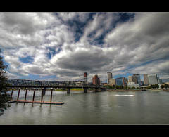 Portland Skyline 9 - HDR (David Gn Photography) Tags: sky clouds oregon marina portland hawthornebridge pdx willametteriver hdr portlanddowntown interestingness10 photomatix portlandskyline 5exp sigma1020mmf35exdchsm canoneosrebelt1i explore25aug09