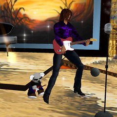 Twin Guitarists (Teal Freenote) Tags: tinies secondlife tiny slmusic slmusician tealfreenote sunsetjazz ganjomokeev