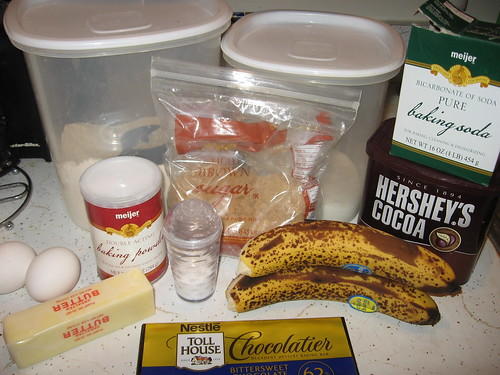 Chocolate Chocolate Chip Banana Bread Ingredients