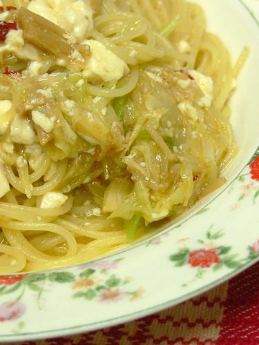 なめ茸と豆腐のスパゲティ