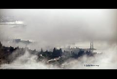 love that fog (JuttaMK) Tags: canada fog vancouver bravo bc explore northshore burrardinlet lionsgatebridge panpacific mywinners anawesomeshot infinestyle mauekay monochromaticvisions