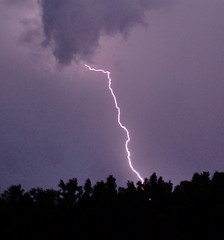 Lightning Strike 2 (ztjphoto) Tags: light sky white storm night purple bright lightning thunder