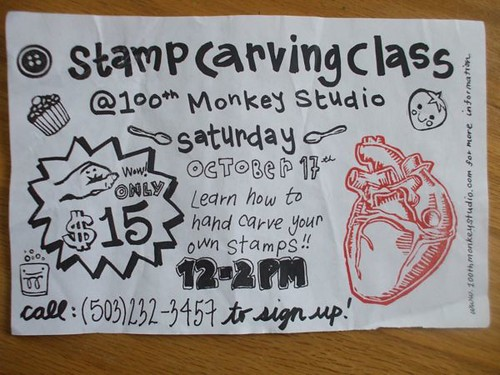 stamp carving class at 100th monkey!