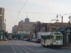 View looking south on Main Street around sunset. Memphis Tennesee. September 2007.