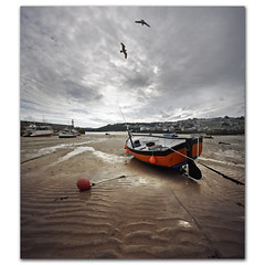 St Ives Harbour, Cornwall. Gull ballet. (s0ulsurfing) Tags: ocean uk travel sea vacation england sky panorama orange cloud seagulls holiday seascape bird english tourism praia beach water lines clouds composition canon landscape boats outdoors grey coast boat mar sand october scenery cornwall day skies harbour pov ripple gull gulls flight wide perspective shoreline overcast wideangle nopeople coastal shore vista coastline ripples rippled nautical gliding landschaft stives 2009 buoy soar glide tranquilscene kernow 10mm leadinglines westcornwall sigma1020 beautyinnature buoyant s0ulsurfing vertorama buoyantspotlight welcomeuk