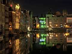 Entrance Red Light District - Amsterdam at Night (Werner Kunz) Tags: world city trip travel blue red vacation urban holiday holland reflection cars water netherlands dutch amsterdam yellow night photoshop dark lights town movement nikon europa europe lifestyle wideangle 100 40 bluehour tungsten dri hdr hdri werner kunz photomatix 20fav explored colorefex nikond90 topazadjust werkunz1 flurescene