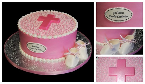 Pink Baptism Cake with Cross and Baby Shoes