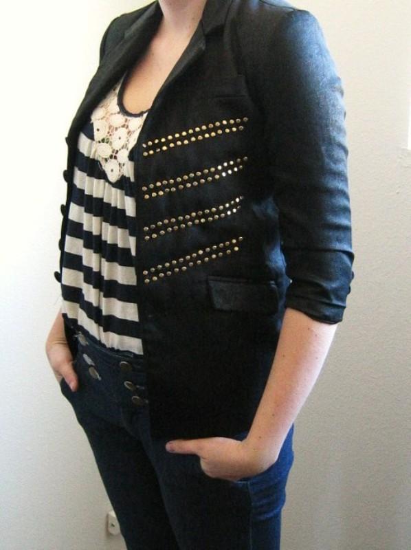 DIY fashion TwoStringJane studded military blazer