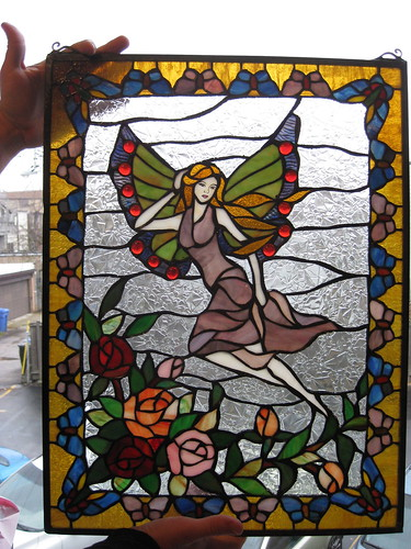 Thrift Find:  Fairy Stained Glass Window