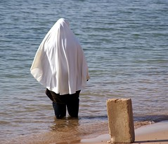 Public Beach, Aqaba (Slybacon) Tags: people beach water candid hijab jordan bathing aqaba