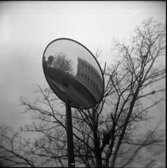 flying-fisheye (loganbertram) Tags: road blackandwhite bw white black 120 film car mediumformat photography mirror holga iso 400 plus hp5 medium format logan ilford unc bertram 400iso holga120n loganbertram loganbertramphotography