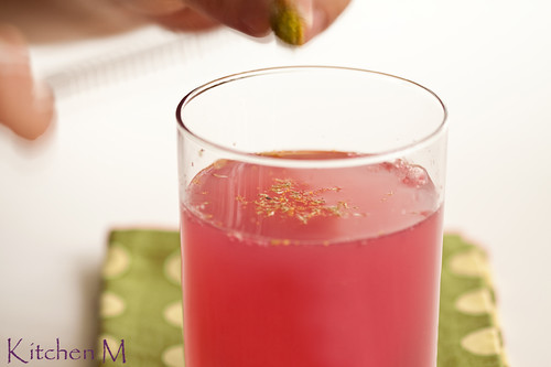 Pomegranate Juice with Szechuan Buttons