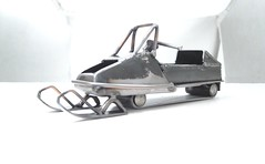 tig welded scrap metal snowmobile sculpture