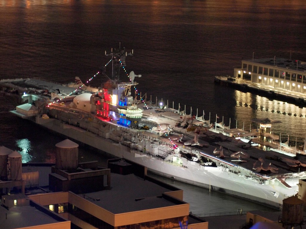 Image result for intrepid museum new york night