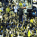 Mike Montgomery cutting down the net at Haas Pavilion