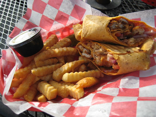 buffalo chicken wrap, fries