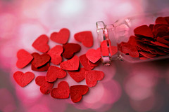 Pour all your hearts out! 💖 💕 (Through Serena's Lens) Tags: mm macromondays heart paper red color small tiny bottle stilllife tabletop macro dof happyvalentinesday love romantic hearts bokeh texture