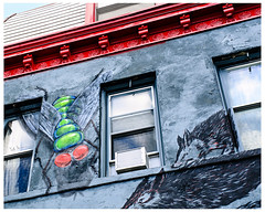 Flies and Wolves (swanksalot) Tags: pilsen streetart mural graffiti chicago wolf fly red tweeted